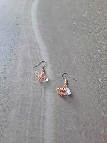 Rose Quartz Cuff - Wire Wrapped Herkimer Diamond Style Double Terminated Quartz Fish Hook Earrings Rose Gold