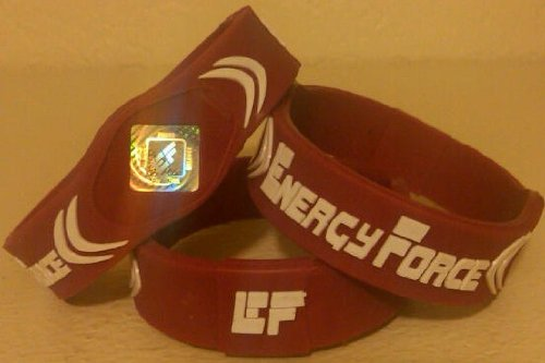 Energy Force Wrist Band (Maroon with White, Large)