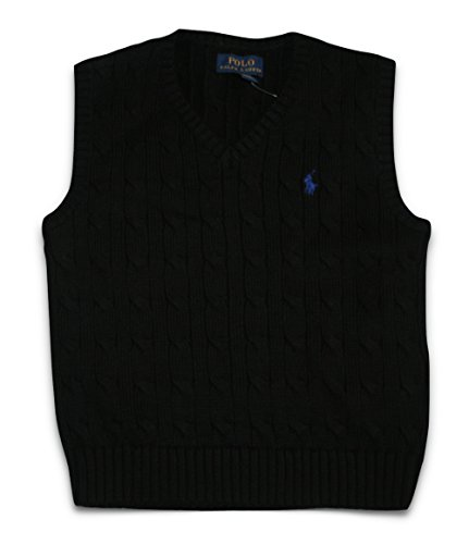 Polo Ralph Lauren Toddler Boys Cable Knit Sweater Vest (4/4T 4T) Black - V-neck All Over Cable Sweater