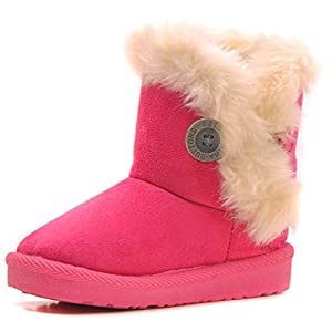 Femizee Girls Boys Warm Winter Flat Shoes Bailey Button Snow Boots(Toddler/Little Kid)