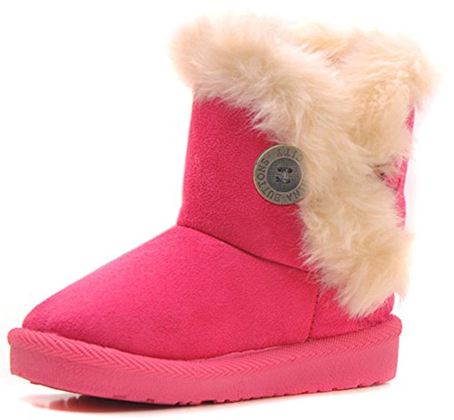 Femizee Girls Boys Warm Winter Flat Shoes Bailey Button Snow Boots(Toddler/Little Kid),Hot Pink,1929 CN23