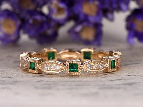 (Solid 14k Yellow Gold Natural Princess Cut Emerald Round Cut Diamond Wedding Band Art Deco Milgrain Engagement Ring Green May Birthstone Bridal Anniversary Gift Stacking Matching Band)