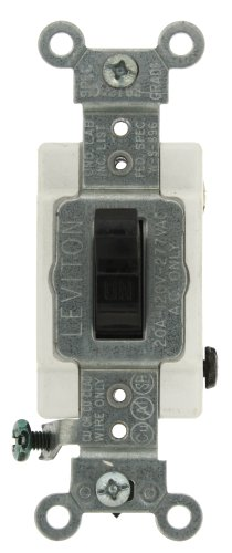 Amp, 120/277-Volt, Toggle Double-Pole AC Quiet Switch, Commercial Grade, Black (Ac Quiet Toggle Switch)
