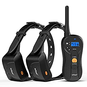 ieGeek Dog Training Collar for 2 Dogs – Rechargeable and Waterproof Shock Collar – 1960ft Blind Operation Remote Controlled Electric Collar with Tone/ Vibration/ Shock for Small/ Medium/ Large Dogs