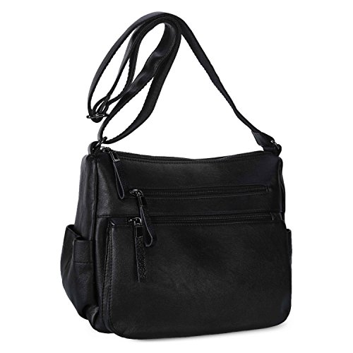 Women Shoulder Bag Soft Leather Crossbody Purse Handbag for Ladies Casual Daypack (Black) ()