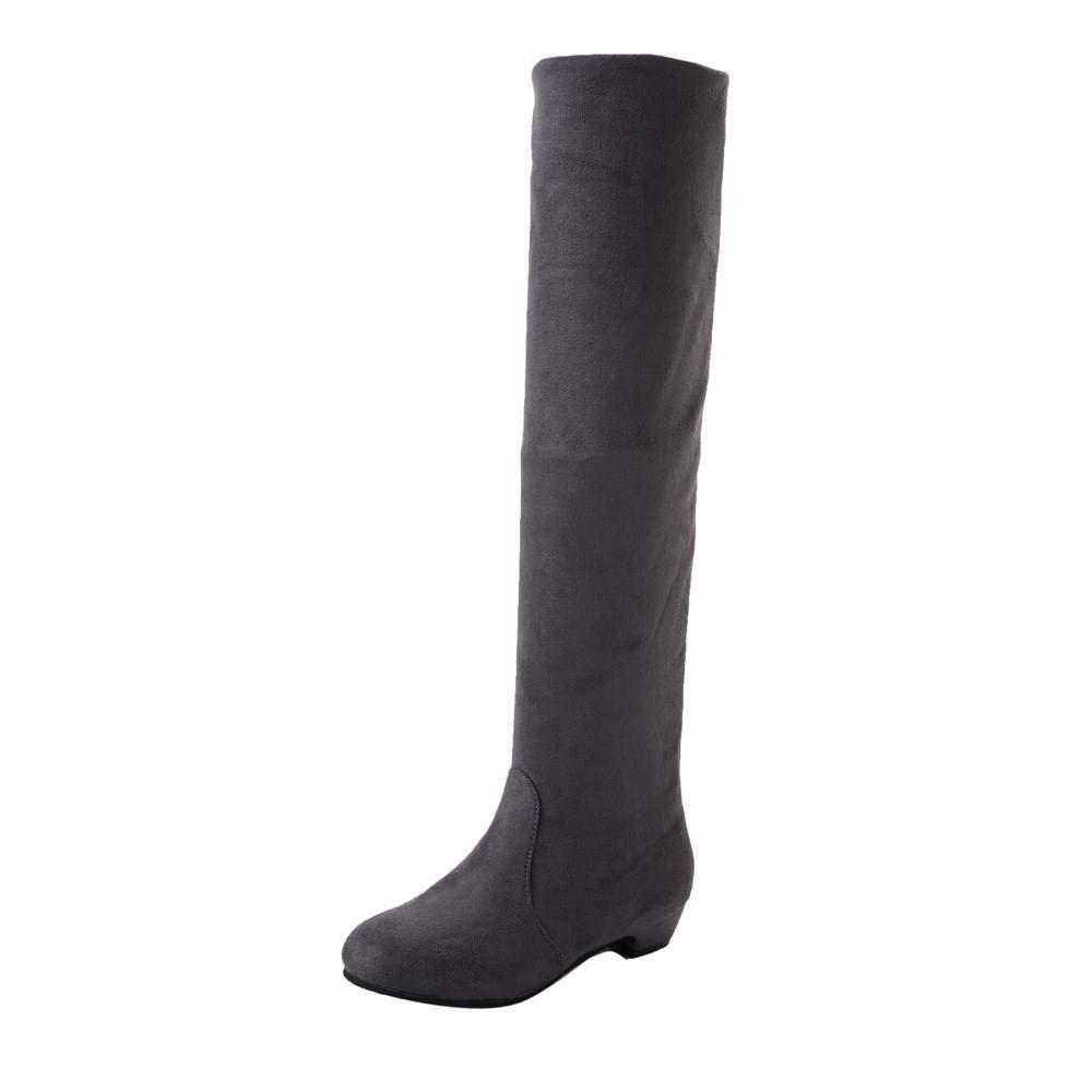 Yesmile Zapatos para Mujer❤️Zapatos Botas largas Planas de Invierno de Mujer Botas Altas Cortas de Gamuza de Invierno