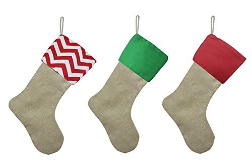 - Set of 3 Pieces Burlap Christmas Stockings Decoration