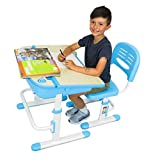 The House of Trade Height Adjustable Kids Desk and Chair Set | Student Desk for Kids Homework | for Ages 3 to 10 Blue