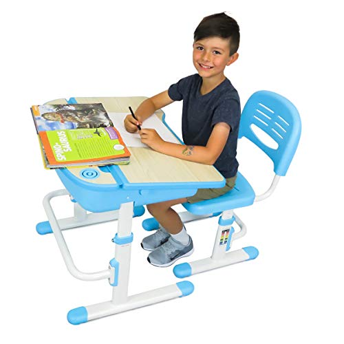 - The House of Trade Height Adjustable Kids Desk and Chair Set | Student Desk for Kids Homework | for Ages 3 to 10 Blue