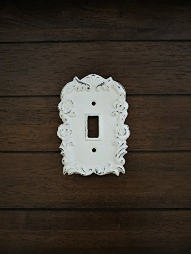 Single Light Switch Cover Toggle Hand Painted Cast Iron Antique White Distressed Cottage Chic - Rustic Light Switch Covers