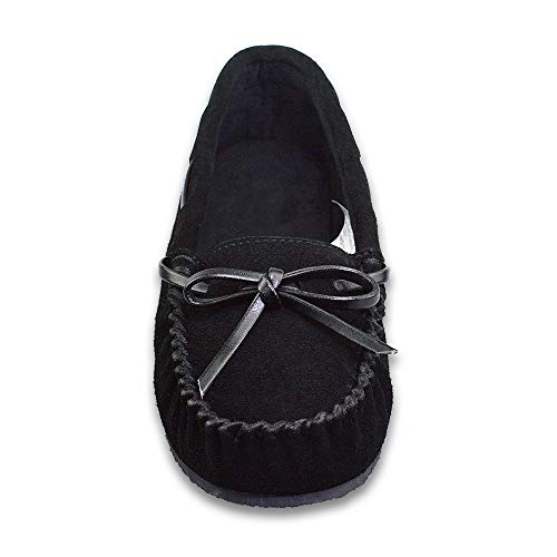 Genuine Women's Cowhide Memory FBA Black On Sole Outdoor Loafers with Moccasin Indoor Slip rrdRxZ