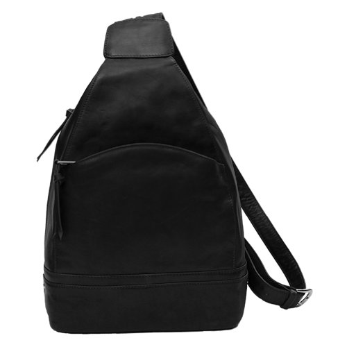 Leather Backpack Handbag (Black) by ILI