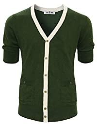 Tom's Ware mens Classic Slim Fit Ribbed Six Buttoned Cardigan