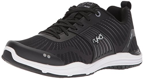 RYKA Women's Grafik Flow Cross Trainer, Black/Hyper Pink/Meteorite, 6 M US (Ryka Womens Studio)
