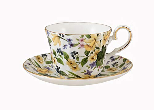 Daffodil Chintz Tea cup and saucer - Fine English Bone China