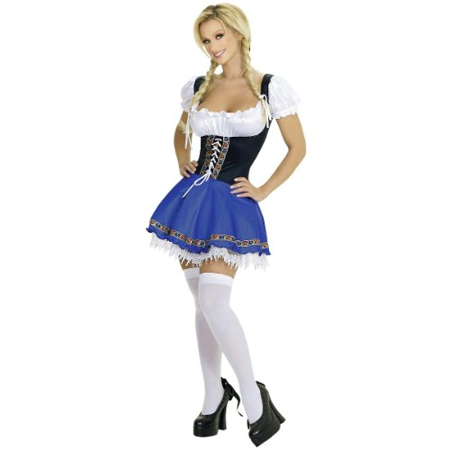 Roma Costume 1 Piece Serving Wench, Blue, (Serving Wench Costumes Renaissance)