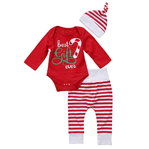 GSHOOTS Baby Boy Girls' 3pcs Set 'Best gift ever' Red Romper + Striped Pants + Hat Christmas Outfit (70 / 0-6 Months, Red Stripe)