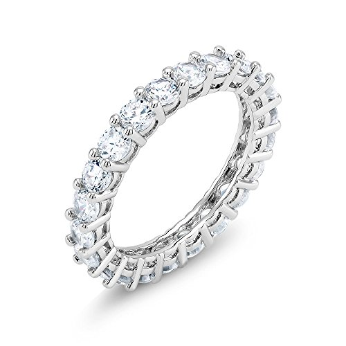 Promise Eternity Band for Women, Silver Ring, Round Cut Cubic (Band Cushion Ring)