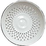 Vintage Look Enamel Vented Bread Bowl Plate Rolls Fruit Bowl Enamelware