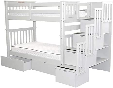 home, kitchen, furniture, bedroom furniture, beds, frames, bases,  beds 8 picture Bedz King Tall Stairway Bunk Beds Twin over deals