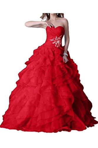Palla Vestito Lunghezza Quinceanera Strapless Perline Piano Strati Rosso Avril Abito Del Vestire A Da nWgzfX4