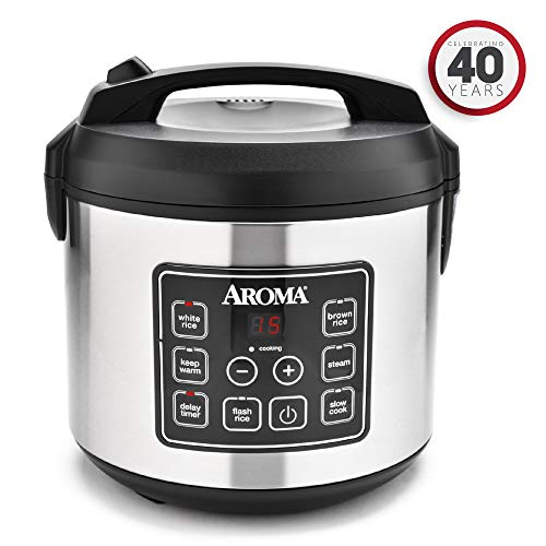 Cup Cooked (10 cup uncooked) Digital Rice Cooker, Slow Cooker, Food Steamer, SS Exterior (ARC-150SB) ()