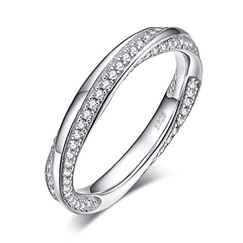JewelryPalace Eternity Twisted Promise 0.6ct Cubic Zirconia Wedding Band Channel Set Ring 925 Sterling Silver size 7 ()