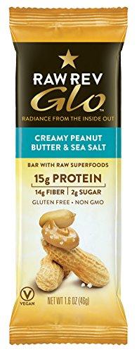 Raw Rev Glo Vegan, Gluten-Free Protein Bars - Creamy Peanut Butter & Sea Salt 1.6 ounce (Pack of 12)