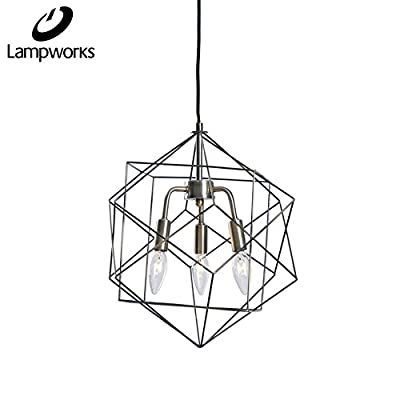 Lampworks Pendant Light Geometric Metal Cage Ceiling Light Fixture Modern Chandelier Industrial Lighting for Bedrooms Living Room(Bulb Not Included)