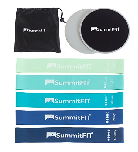 SummitFIT Exercise Sliders and Mini Bands: Work Out Bands, S