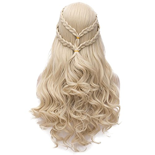Daenerys Targaryen Cosplay Wig for Game of Thrones Khaleesi Halloween Costumes Hair Wig (Blonde) BU121]()