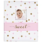Carter's Pink and Gold Polka Dot My First Years Bound Memory Book for Baby Girls, 9  W x 11.125  H, 60 Pages