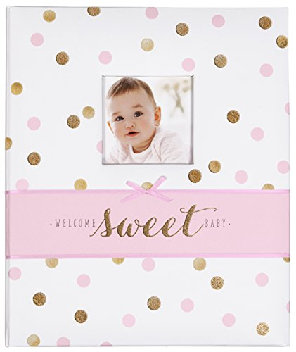 C.R. Gibson White, Pink and Gold Polka Dot 'Welcome Sweet Baby' Baby Memory Book for Baby Girls, 60 pgs, 9'' W x 11.125'' H (Book Memory Girls)