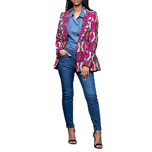 Outwear Della Rcdxing Porpora Colletto Giacca Caldo Abbigliamento Maniche Girare Lunghe Lavoro Rosso Giacca Da A Dwon Cappotto Africana Donne Stampa Di 558zf