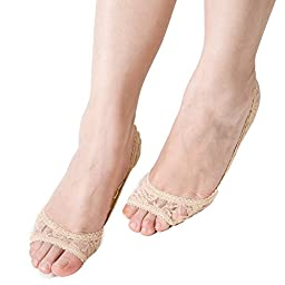 3/6 Pairs Women Summer Lace Open Toe Shoe Hidden No-Show Socks for Flat Shoes