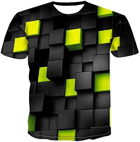 3D Druck Tshirt Herren Kurzarm Round Hals Schwarz-Gelb-Grün-Quadrat-Muster T-Shirt Männer 3DT-Shirt Kurzarm Rundhals Digitaldruck lässig Kurzarm