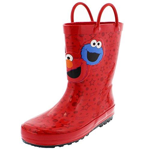 Sesame Street Elmo Boys Girls Rain Boots (5/6 M US Toddler, Sesame Street Red)
