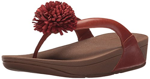 FitFlop Women's Flowerball Leather Toe-Post Flip Flop, Dark Tan, 8 M US by FitFlop