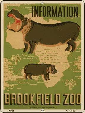 Bargain World Information Brookfield Zoo Vintage Poster Parking Sign (Sticky Notes) -
