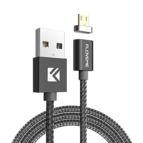 Magnetic Charging Cable, FLOVEME 3.3ft Nylon Braided Aluminum Alloy Micro USB Data Sync with LED Indicator for Andriod Phones and Tablets Samsung Galaxy S5 S6 S7 Edge Note 5 S8 S9 PLUS LG HTC SONY etc