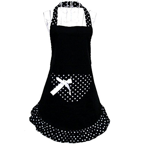 Hanerdun Womens Apron Ladies Cute Apron Lovely Fancy Maid Set Apron Black Bowknot Apron With Pocket Gift Idea