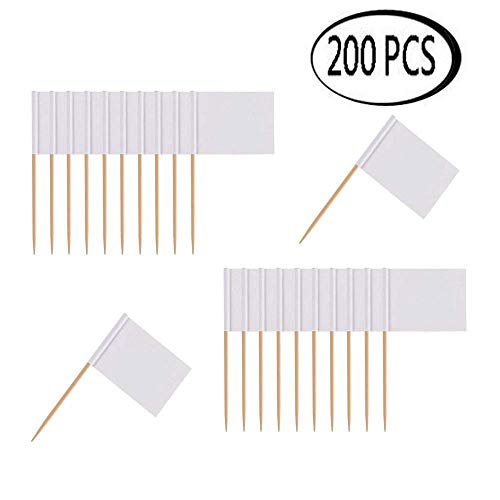 Professional Labeling - Soochat Blank Toothpick Flags White Flags Labeling Marking for Party Cake Food (200 Pcs)