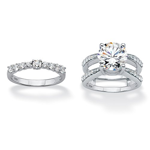 Platinum over Sterling Silver Round Cubic Zirconia 2 Piece Jacket Bridal Ring Set Size 7