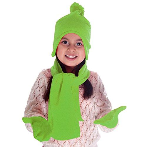 Unisex Fleece Scarf (Simplicity Unisex Kids Winter Knit Fleece Hat Scarf and Glove Set, Lime)