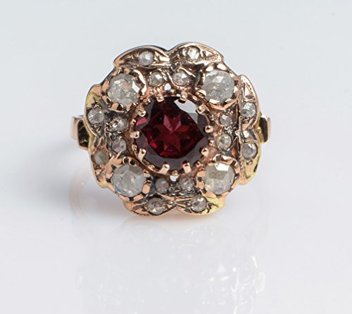 Women Handmade Ring with Oval Garnet and Rose Cut Diamonds Sun Shaped set in 14K Rose Gold, Sizes US 4-11 (Ring Diamond Oval Sun)