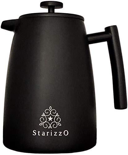 (Large French Press Coffee Maker, Premium Stainless Steel, Thermal Dual-Wall, For Home & Work, Travel & Camping, Stylish Black Matte Finish, 34 oz | 1L, Dependable)