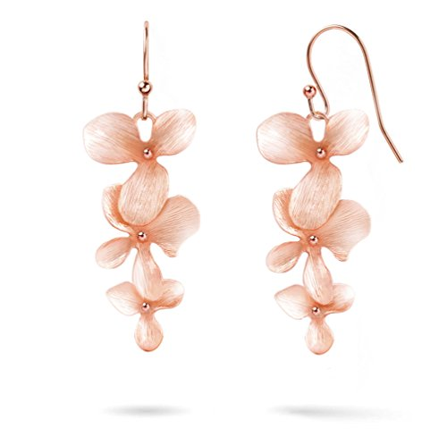 Ann Tarry Gold Plated Orchid Flower Necklace or Bracelet + Beautiful Gift Box (Rose-Gold Plated (Gold Plated Flower Necklace Earrings)
