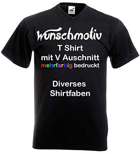 V Neck T-Shirt mit Wunschtext oder Wunschbild bedruckt Mehrfarbig bedrucken Textildruck V-Ausschnitt