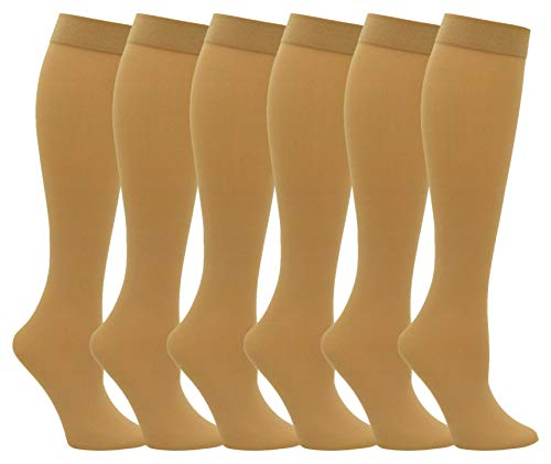 (6 Pairs Women's Trouser Socks, Silky Opaque Stretchy Nylon Knee Highs With Spandex (6 Pairs, Beige))