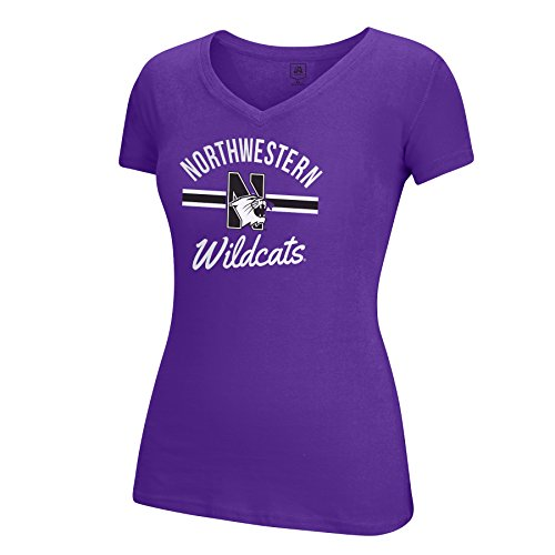 NCAA Northwestern Wildcats Adult Women School Spirit Stripe Essential Tee, Medium, Purple